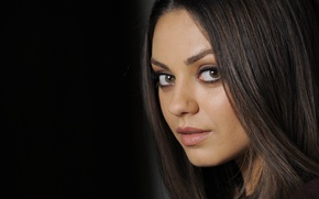 Picture face, portrait, actress, black background, Mila Kunis, Mila Kunis, actress