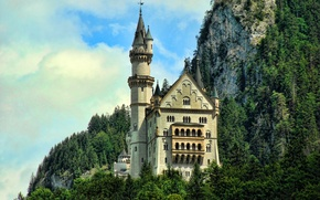 Picture FOREST, MOUNTAINS, HOUSE, GREENS, TREES, ROCKS, CASTLE, TOWER