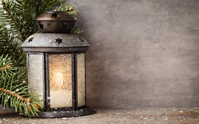 Picture decoration, New Year, Christmas, light, Christmas, decoration, lantern, Merry