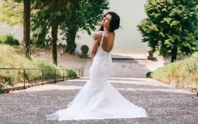 Picture mood, dress, ladder, neckline, wedding dress, Aurela Skandaj
