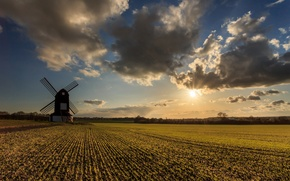 Picture field, the sun, clouds, clouds, mill