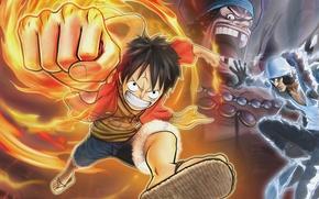 Picture Blackbeard, Aokiji, Luffy, ONE PIECE PIRATE WARRIORS 2