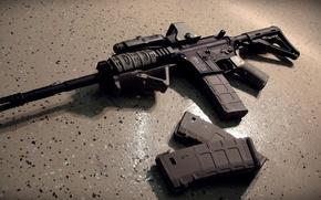 Wallpaper clips, floor, machine, gun