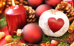 Picture holiday, balls, heart, new year, Apple, Christmas, candle, new year, needles, bumps, powder