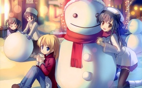 Picture winter, mood, anime, snowman, friends