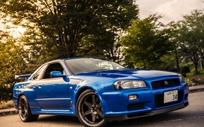 Picture nissan, Blue, skyline, gtr, r34, v-spec