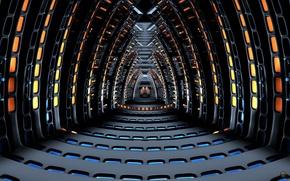 Picture space, fiction, ship, spaceship, corridor