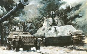 Picture war, Royal tiger, tanks, Tiger 2, Tiger II, German, heavy