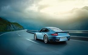 Picture road, view, speed, Porsche, porsche, riding
