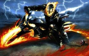 Picture Ghost Rider, lightning, Marvel, spirit, byke, hellfire, vengance