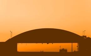 Wallpaper racing, sport, the sky, car, hangar, sunset