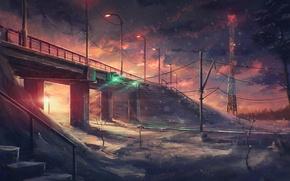 Picture winter, snow, night, bridge, the wind, art, traffic light, tower, lantern
