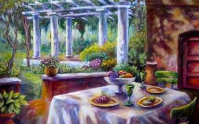 Wallpaper flowers, Park, table, art, garden, columns, fruit, glasses, chair