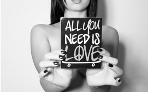 Picture Love, Girl, Skateboard, B/W, Sign