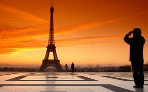 Wallpaper The sky, France, France, Paris, Area, Eiffel tower, Clouds, Paris, People, Sunset, The evening