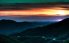 Wallpaper road, the sky, hills, Sunset
