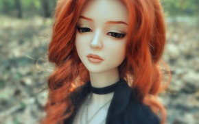 Picture sadness, hair, doll, red