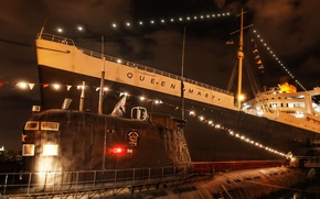 Picture night, lights, ship, pier, submarine, USA, liner, submarine, California, Queen Mary, Orange County