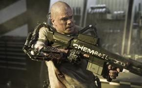 Picture weapons, machine, the exoskeleton, Matt Damon, Matt Damon, Elysium, Elysium