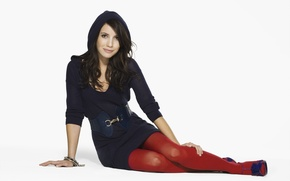 Picture actress, hood, white background, Emma Roberts, red tights