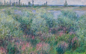 Picture landscape, nature, picture, Claude Monet, The banks of the Seine at Vétheuil