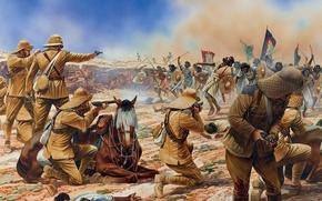 Wallpaper To Omdurman the battle, modesty, art, 2 Sep 1898, Sudan, rifle, soldiers, shields, revolvers, spears, ...
