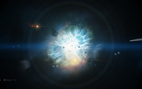 Picture stars, the explosion, space, disaster, comet