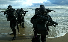 Wallpaper sea, combat, machines, Marine special forces, swimmers, shore
