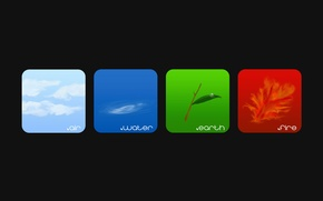 Picture the sky, water, clouds, blue, red, green, fire, flame, earth, blue, green, elements, leaf, branch, …