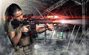 Picture girl, weapons, flashlight, the ruins, optics, laser, form