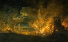 Picture landscape, picture, glow, Daniel van Hail, A fire in the City