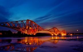 Wallpaper sunset, bridge, the city, lights, reflection, the evening, Scotland