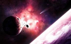Wallpaper asteroids, comet, planet, satellite, nebula, space