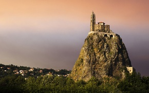 Picture forest, rock, castle, top, fortress, the village