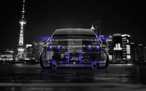 Wallpaper Night, The city, Neon, Style, Nissan, GTR, City, Nissan, Purple, Photoshop, Photoshop, R32, Skyline, Neon, ...
