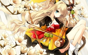 Picture girl, flowers, branch, art, vocaloid, bow, ears, Vocaloid, seeu, hajida