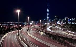 Wallpaper Autobahn, Night, Lights