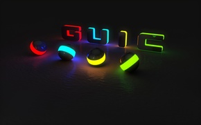 Picture color, light, strips, abstraction, reflection, letters, ball, glow, backlight, black background, brightness, the word