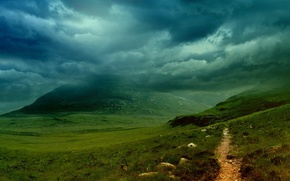 Wallpaper mountain, Trail, clouds
