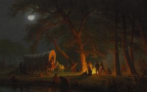 Wallpaper people, picture, wagon, bed, genre, Albert Bierstadt, Oregon Trail
