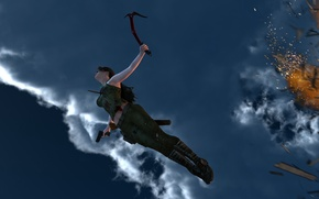 Picture the sky, girl, flight, the explosion, fire, the game, art, Lara Croft, Tomb raider