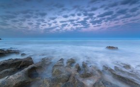 Picture sea, clouds, stones, dawn, shore, morning, threads