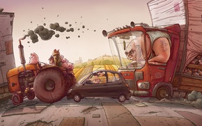 Picture road, machine, figure, field, truck, tractor, tube, pigs