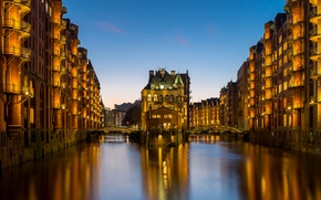 Wallpaper bridges, Germany, Germany, night city, Hamburg, channels, Speicherstadt, Memory city, Hamburg, building