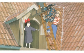 Picture roof, glasses, ladder, sign, guy, two, tile, attic, Kiki's delivery service, hayao Miyazaki, kiki`s delivery …