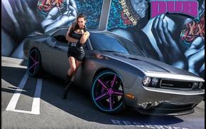 Picture auto, look, girl, graffiti, Girls, Dodge