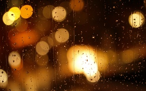 Picture sadness, glass, drops, night, the city, lights, glare, rain, mood, blur, bokeh, run, rainy evening, …