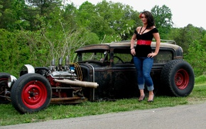 Picture auto, girl, hot road, Ford Model A Sedan 1930 Rat Rod (Carl's Custom Cars)