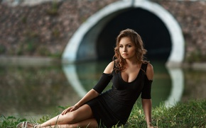 Picture look, girl, bridge, pose, sweetheart, model, portrait, dress, neckline, brown hair, legs, beautiful, sitting, neckline, …
