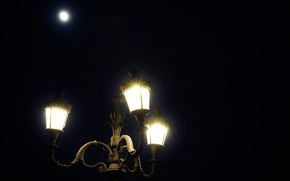 Picture night, the city, lights, the moon, lantern, moon, night, romantic